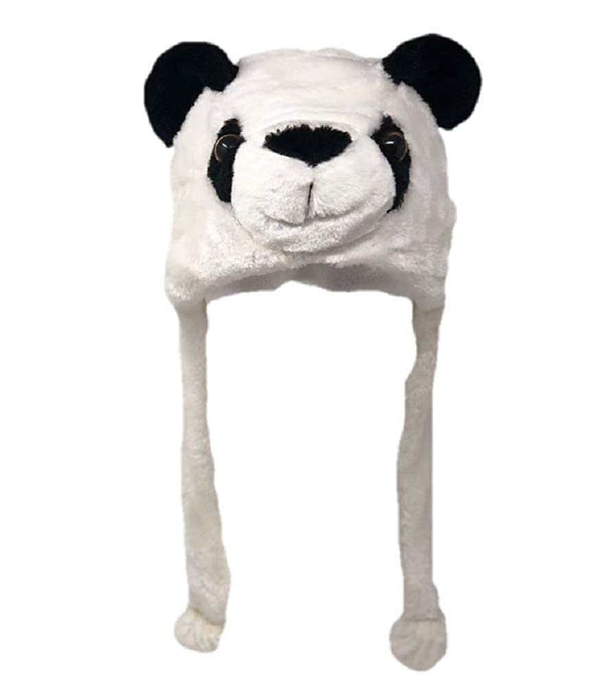 50431b4aaef Amazon.com  Plush Fun Animal Beanie Hat - One Size (Older Kids   Adults) -  Polyester w Fleece Lining (Panda)  Clothing
