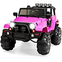 Best Choice Products 12V Kids Ride-On Truck Car w/ Remote Control, 3 Speeds, Spring Suspension, LED Lights, AUX - Pink