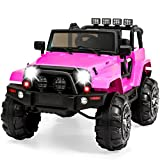 Best Choice Products 12V Ride On Car Truck w/ Remote Control, 3 Speeds, Spring Suspension, LED Light - Pink