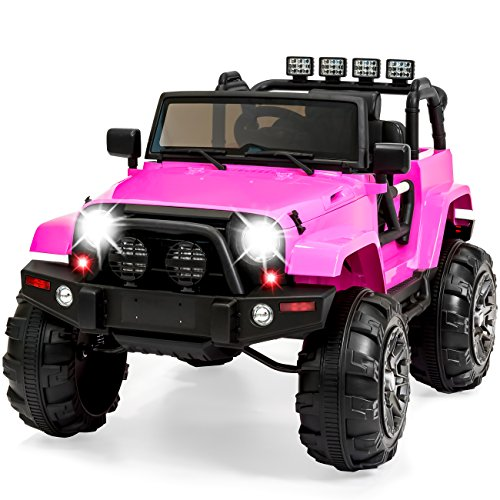 Best Choice Products Kids 12V Ride On Truck w/ Remote Control, 3 Speeds, LED Lights, AUX, Pink