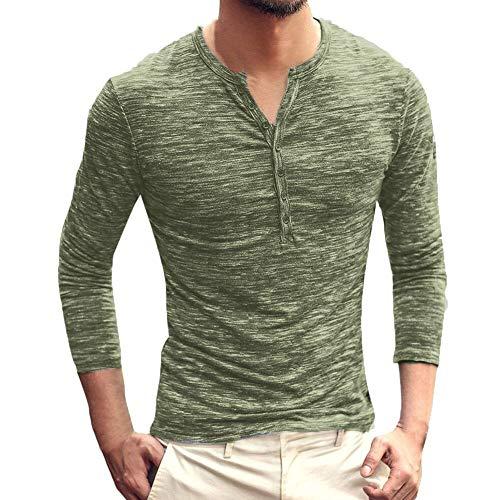 vermers Clearance Sale Men Henley Shirts Men Autumn Casual Vintage Long Sleeve V-Neck T-Shirt Tops(2XL, y-Green)