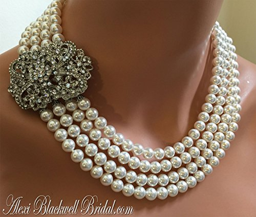 Pearl Necklace with Brooch multi strand Art Deco style in White Swarovski pearls or Cream Ivory. Can be made in your choice of color. Wedding jewelry set by Alexi Blackwell Bridal -