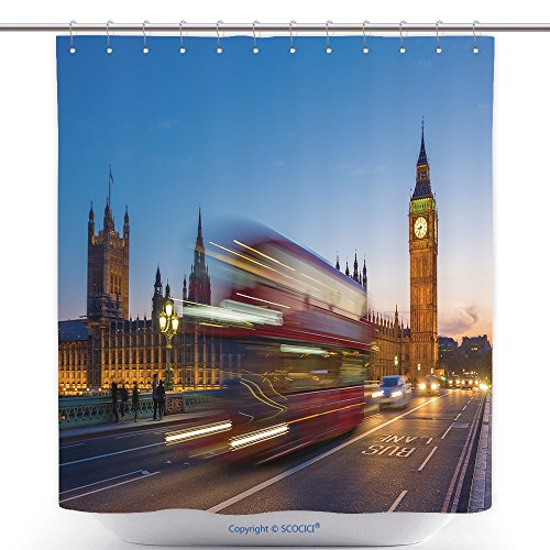 Iconic Music Video Costumes (Polyester Shower Curtains Iconic Double Decker Bus With Big Ben And Parliament At Blue Hour, London, Uk_84743022 Polyester Bathroom Shower Curtain Set With Hooks)
