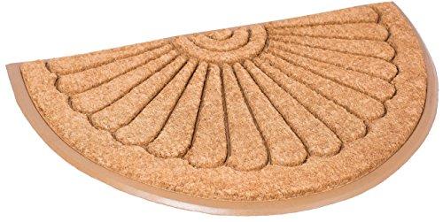BIRDROCK HOME 24 x 39 Half Round Natural Coir and Rubber Doormat (Large) | Natural Fibers | Outdoor Doormat | Keeps Your Floors Clean | Decorative Design | Brush Coir