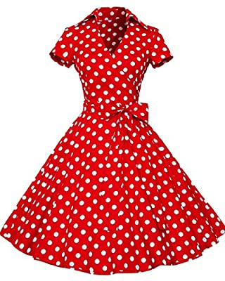 Tempt me Womens 50s Style Polka Dot Short SLeeve Swing Vintage Dress