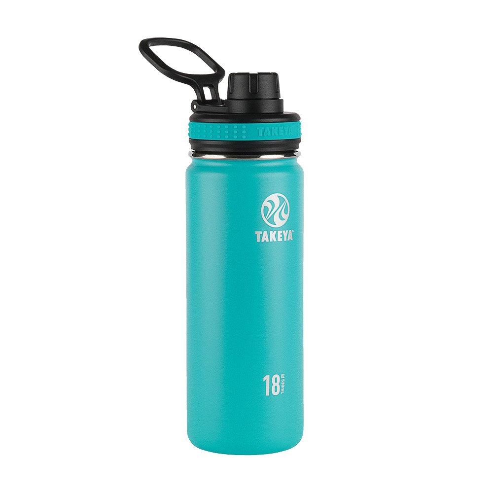 Takeya 50005 Originals Vacuum-Insulated Stainless-Steel Water Bottle, 18oz, Ocean, 18 oz,