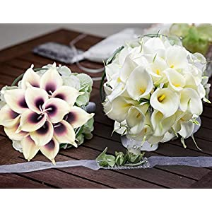 HoveBeaty Calla Lily Bridal Wedding Festival Decor Bouquet Real Touch Latex Flower Bouquet Pack of 20 5
