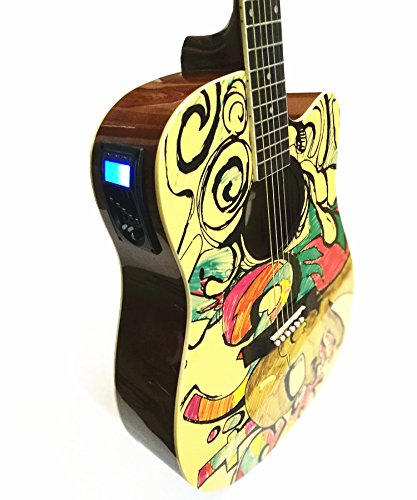 X-XIN 41 Pulgadas De Madera Pintada De Graffiti Folk Guitarra Principiante Novato Entrada Chicas Guapas.: Amazon.es: Instrumentos musicales