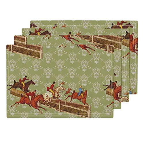 Roostery Equestrian 4pc Eco Canvas Cloth Placemat Set - Horse Hound Fox Hunt Toile Damask by Ragan (Set of 4) 13 x 19in