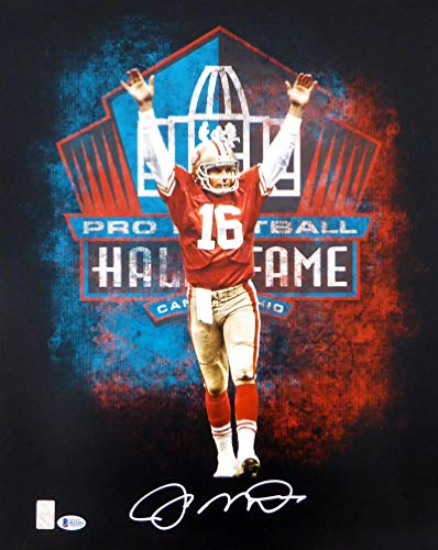 (Signed Joe Montana Photograph - 16x20 In White Beckett BAS Stock #152357 - Beckett Authentication - Autographed NFL Photos)