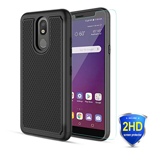 Alila for LG Escape Plus Case,LG K30 2019/Journey LTE/Tribute/Arena 2/Tribute Royal/Aristo 4+/Prime 2/Aristo 4 Case W/[2 Pack] HD Screen Protector [Shockproof ] Rugged Phone Case for Women/Men-(Black)