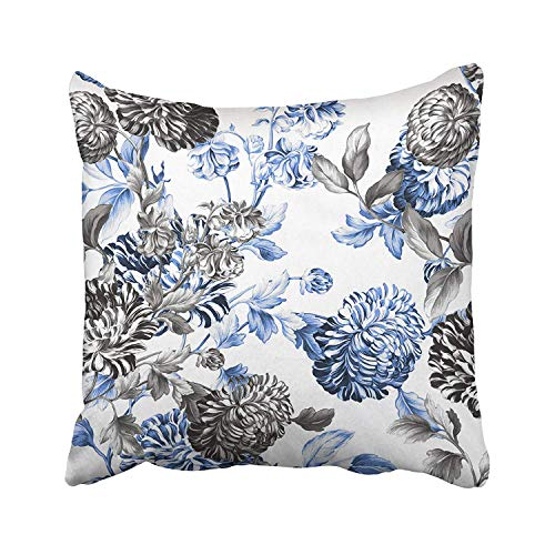 SPXUBZ Periwinkle Blue Black White Botanical Floral Toile Cotton Throw Pillow Cover Home Decor Nice Gift Indoor Pillowcase Standar Size (Two Sides)