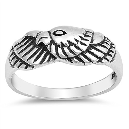 Oxidized Eagle American Bird Patriot Ring .925 Sterling Silver Band Size 6