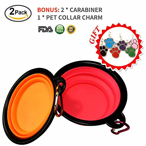 Travel Waterer (MR.PAW Collapsible Travel Dog Bowl,Food Grade Silicone, BPA Free, Food Water Feeding Portable Bowl-Set of 2-with Free Carabiner and Pet ID Tag!(Pink+Orange))