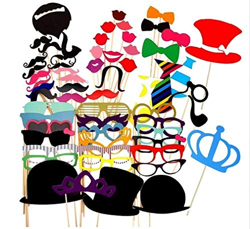 Taka Co Photo Booth Props Wedding Photo Booth Props 60 Pieces Wedding Party Decor Funny Mustache Photobooth Birthday Party Decoration Kids Event Supplies -