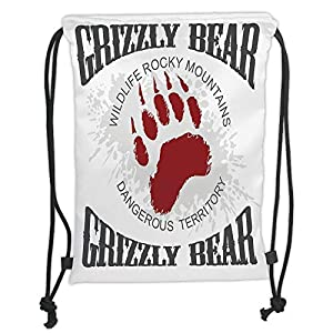 Cabin Decor,Grunge Grizzly Bear Footprint Emblem Dangerous Wildlife Rocky Mountains Decorative,Grey Red White Soft Satin,5 Liter Capacity,Adjustable Strin 68