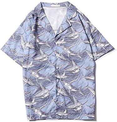 DXHNIIS Tiburones con Estampado Completo Camisa Descubierta Camisa Retro Hombre Calle Vintage Camisas de Manga Corta Camisas Hombre Top XXL Camisa Azul Claro: Amazon.es: Deportes y aire libre