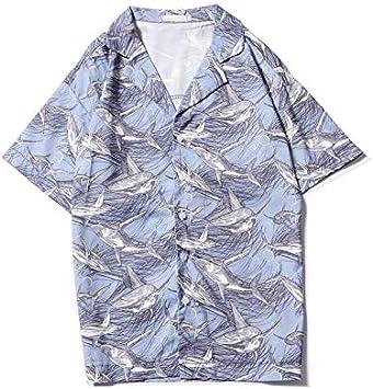 DXHNIIS Tiburones con Cuello Redondo Camisa Retro Impresa Completa Camisa de Hombre de la Calle Hombres de época Camisas de Manga Corta Top Masculino L Camisa Azul Claro: Amazon.es: Deportes y aire
