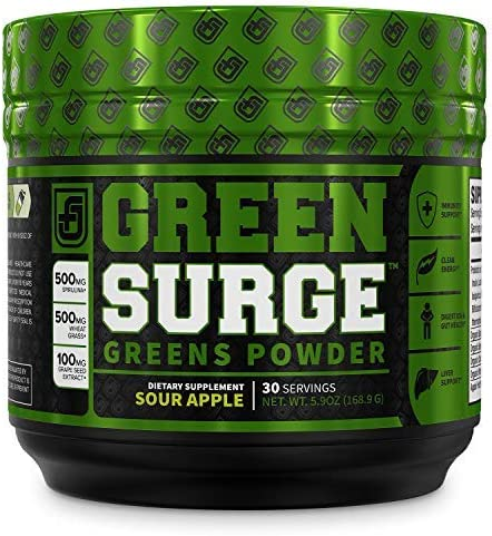 Green Surge Green Superfood Powder Supplement – Keto Friendly Greens Drink w Spirulina, Wheat Barley Grass, Organic Greens – Green Tea Extract, Probiotics Digestive Enzymes – Sour Apple – 30sv