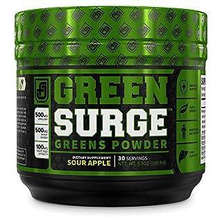 Green Surge Green Superfood Powder Supplement - Keto Friendly Greens Drink w/Spirulina, Wheat & Barley Grass, Organic Greens - Green Tea Extract, Probiotics & Digestive Enzymes - Sour Apple - 30sv