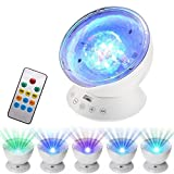 GLIME Remote Control Ocean Wave Projector Night Light 12 LED 7 Colors Built-in Mini Night Music Player Light 45 Degree Adjustable LED Star Lamp Projector Nightlight for Kids Bedrooms Living Room