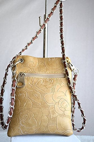 messenger small stitched Beige embossed purse western crossbody boot floral HpCzYq
