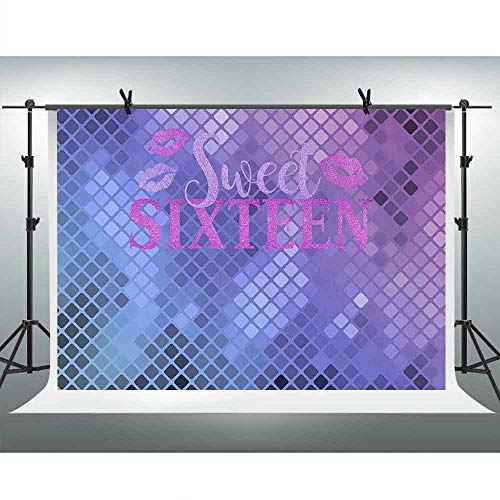 FHZON 10x7ft Sweet Sixteen Theme Wallpaper Backdrop Purplr Grid Background Photography Theme Party Photo Booth Studio Props LXFH883 -