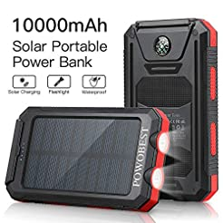 Solar Charger 10000mAh, POWOBEST Dual US...