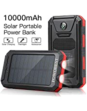 Solar Charger 10000mAh, POWOBEST Dual USB Portable Charger Solar Power Bank, Waterproof External Backup Battery Pack, Solar Phone Charger for Smartphones, Solar Power Pack with Flashlight & Compass