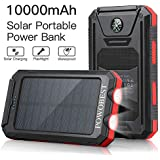 Solar Charger 10000mAh, POWOBEST Dual USB Portable Charger Solar Power Bank, Waterproof External Backup Battery Pack, Solar Phone Charger for Smartphones, Solar Panels with Flashlight & Compass