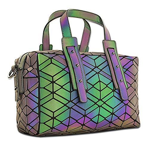 - Women Geometric Holographic Purses Luminous Handbags Large Tote Top-Handle Bags with Zipper Closure Satchel Boston Bags