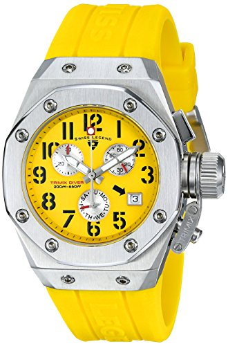 Swiss Legend Women's 10535-07 Trimix Diver Chronograph Yellow Dial Yellow Silicone Watch