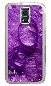 drops on the purple petal Polycarbonate Hard Case Cover for Samsung S5/Samsung Galaxy S5 Transparent