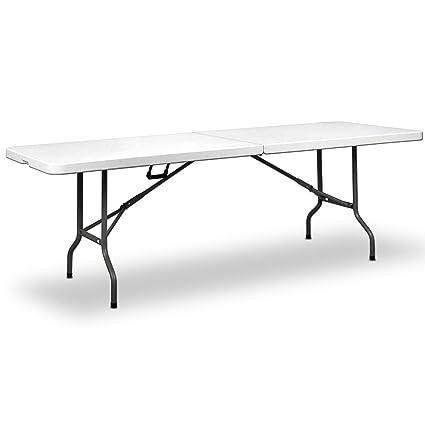 Deuba   Table de Camping • 240 cm • Pliable • Plastique résistant Blanc    Table de Jardin, terrasse