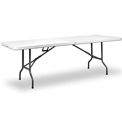 Casaria Table de Jardin Blanc Pliable 220x70x72cm Plastique ...