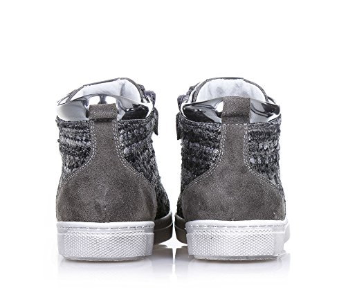 NERO GIARDINI - Chaussure grise à lacets, en suède et tissu, glissière latérale, logo latéral, coutures visibles et semelle en caoutchouc, Fille, Filles, Femme, Femmes