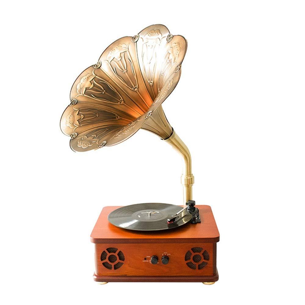 レトロ ブルートゥーススピーカー ホーンターンテーブルヴィンテージビニール蓄音機ステレオレコードプレーヤーブルートゥーススピーカースーツケースターンテーブルブルートゥース復元蓄音機家具家の装飾父の日ギフト (色 : Wood, サイズ : Free size) B07SSRGH6J Wood Free size