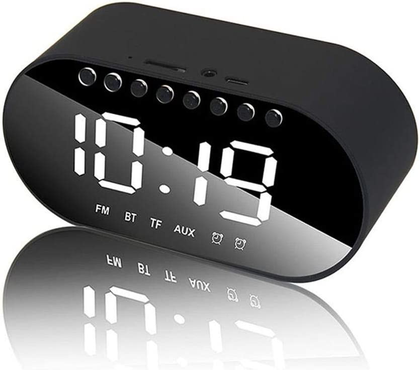 Office Mirror Alarm Clock for Bedroom TF Card Not Include LED Digital Alarm Clock Bluetooth Speaker Support Dual Alarm Clock//FM Radio//AUX-in//TF Card//Flash Drive