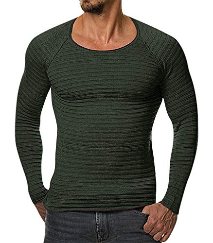 Mancave Men Tight Full Sleeve O Neck Ribbed Stitch Detail Solid Color Sweater, Green L,Manufacturer(XXL)