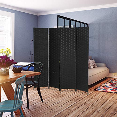 (MR Direct Room Divider 4 Panel Wood mesh Woven Design Room Screen Divider Wooden Screen Folding Portable partition Screen Screen Wood for Home Office Bedroom Black)