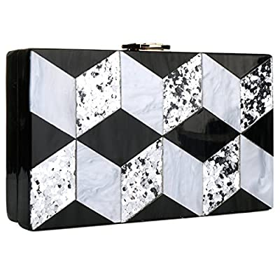 Black and White Purse Acrylic Clutch Evening Handbags Crossbody Bags for Women