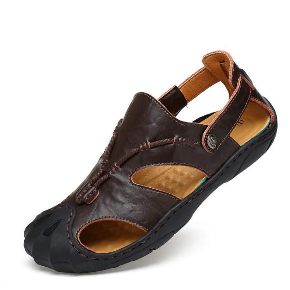 YWNC Zapatillas De Deporte Al Aire Libre De Cuero De Vaca Respirable para Hombre Zapatillas 38-46 2018 Zapatillas De Playa De Verano De Gran Tamaño Nuevo,Brown,42 42 Brown