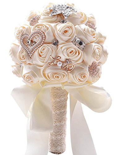 Belle House Cream Wedding Flowers Crystal Bridal Bouquets Lace Pearl Bride Bridesmaid Bouquet by Belle House
