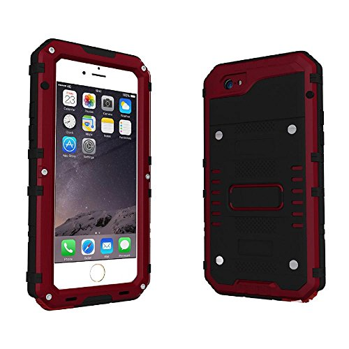KOBWA iPhone 6 6s Case,Heavy Duty IP68 Waterproof Shockproof Dirtproof Full Protective Rugged Case with Zinc Alloy Shell, Tempered Glass Screen Full Sealed Case Cover for iPhone 6 (Depth Sensitive Screwdriver)