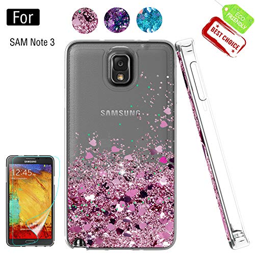 Galaxy Note 3 Phone Case,Galaxy Note 3 Cases with HD Screen Protector for Girls Women, Luxury Glitter Diamond Quicksand Clear TPU Protective Phone Case for Samsung Galaxy Note 3 Pink (The Best Case For Galaxy Note 3)