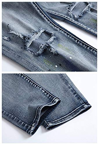 Aderenti Moderna Colour Fori Slim Rt Con Washed Fit Cher Distressed Jeans Denim Casual Pantaloni Men Pants Strappato w8FxaqzaB