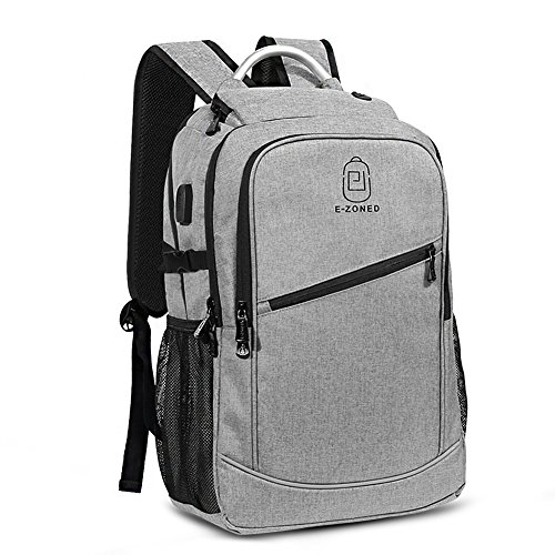 Business Laptop Backpack, 17 Inch Laptop Backpack Computer Bag For Women Men, Large Waterproof backpack with USB Charging Port and Headphone Port and Al Handle for Work, School, Travel, Business by E-Zoned