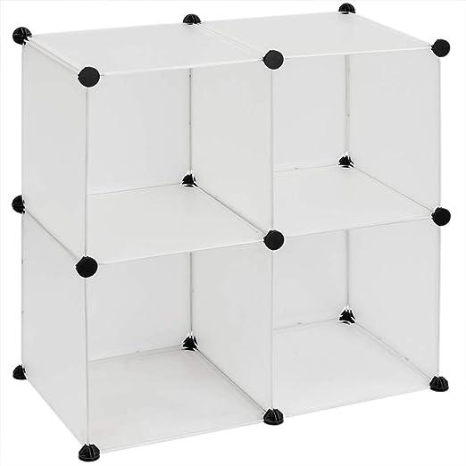 PrimeMatik - Armario Organizador Modular Estanterías de 4 Cubos de 35x35cm plástico Blanco: Amazon.es: Juguetes y juegos