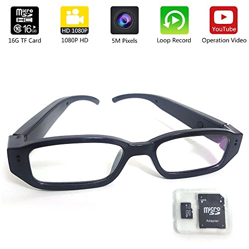 d394f44a7b Glasses Camera 16GB Included Updated Version MidZoo HD 1080P Eyewear Mini  Portable DVR Eyeglasses Sport Action Camera Video Recorder Black