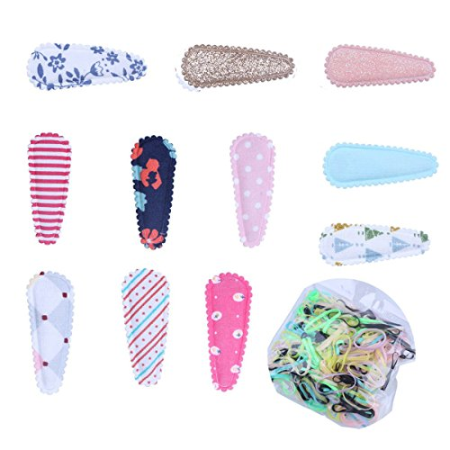 KimmyKu 10Pairs/20Pcs Cotton Fabric Covered Snap Infant Toddler Baby Girls Hair clips Accessories Barrettes Non Slip Plus 450pcs Rubber Hair Bands Tie